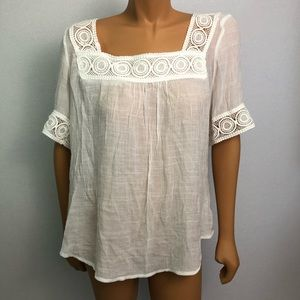 Spense Tops - Spence woman XL white blouse tunic boho
